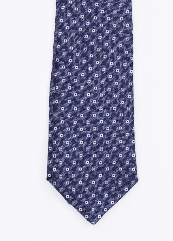 Corbata Formal Wear estampado geométrico, color azul. Pala 7,5 cm. 100% Seda. - Ítem1