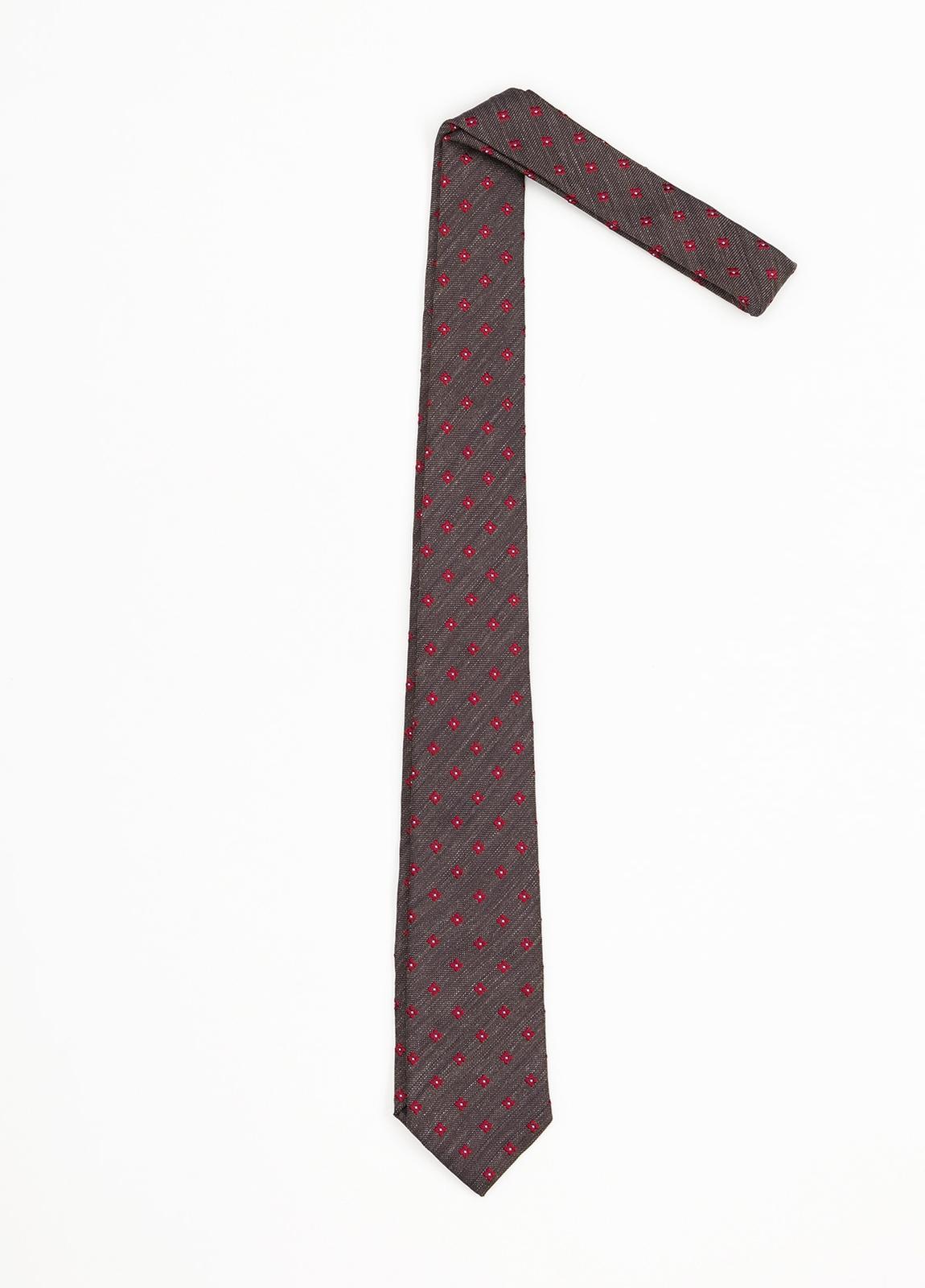 Corbata Formal Wear estampado flor, color marrón. Pala 7,5 cm. 100% Seda.