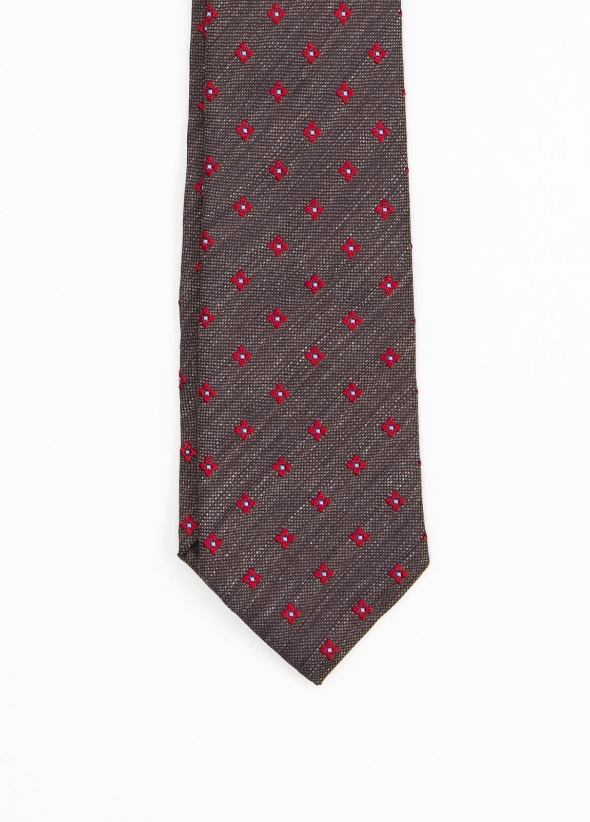 Corbata Formal Wear estampado flor, color marrón. Pala 7,5 cm. 100% Seda. - Ítem1