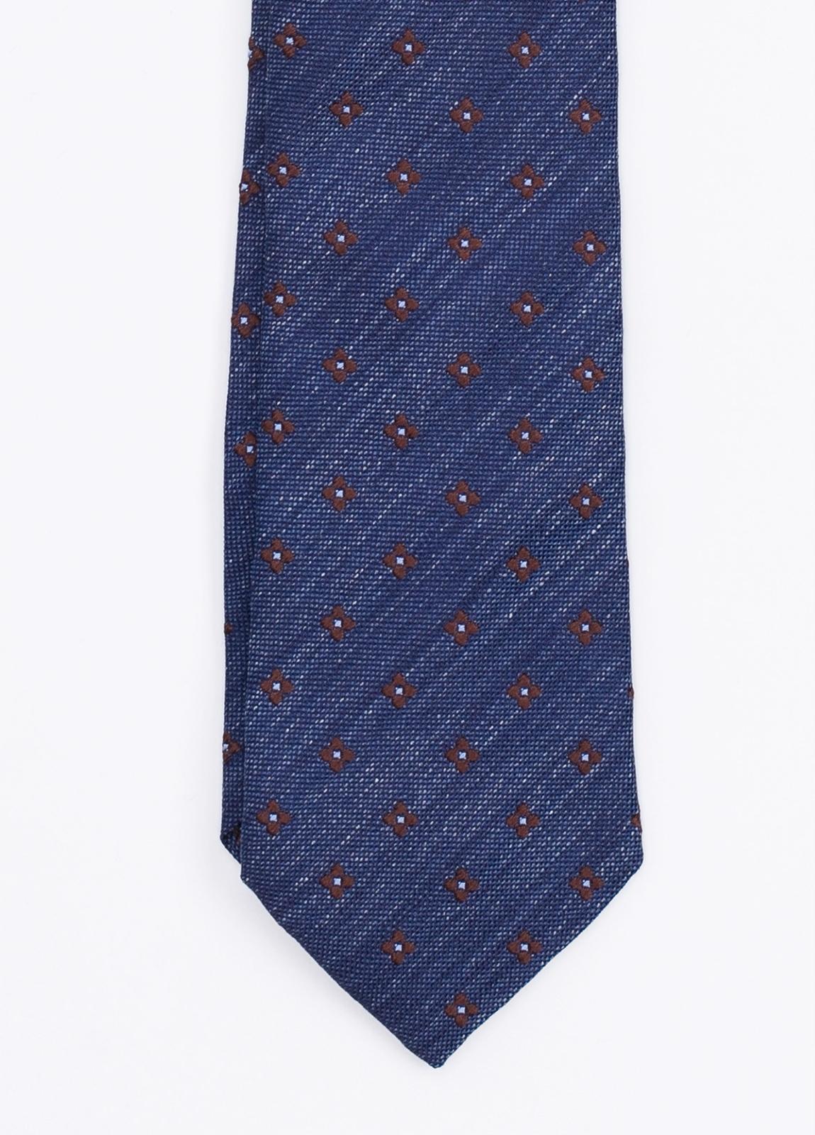 Corbata Formal Wear estampado flor, color azul. Pala 7,5 cm. 100% Seda.