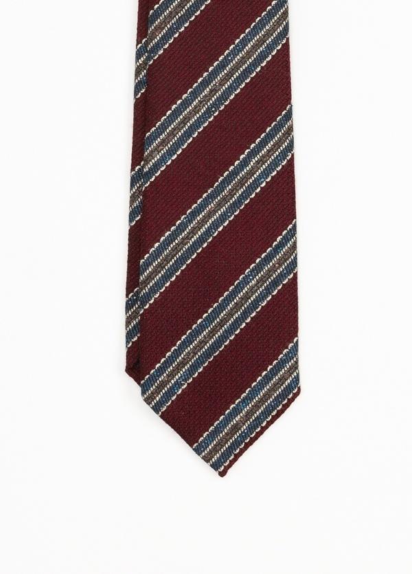 Corbata Formal Wear rayas diagonales, color granate. Pala 7,5 cm. 70% Lana 30% Seda. - Ítem1