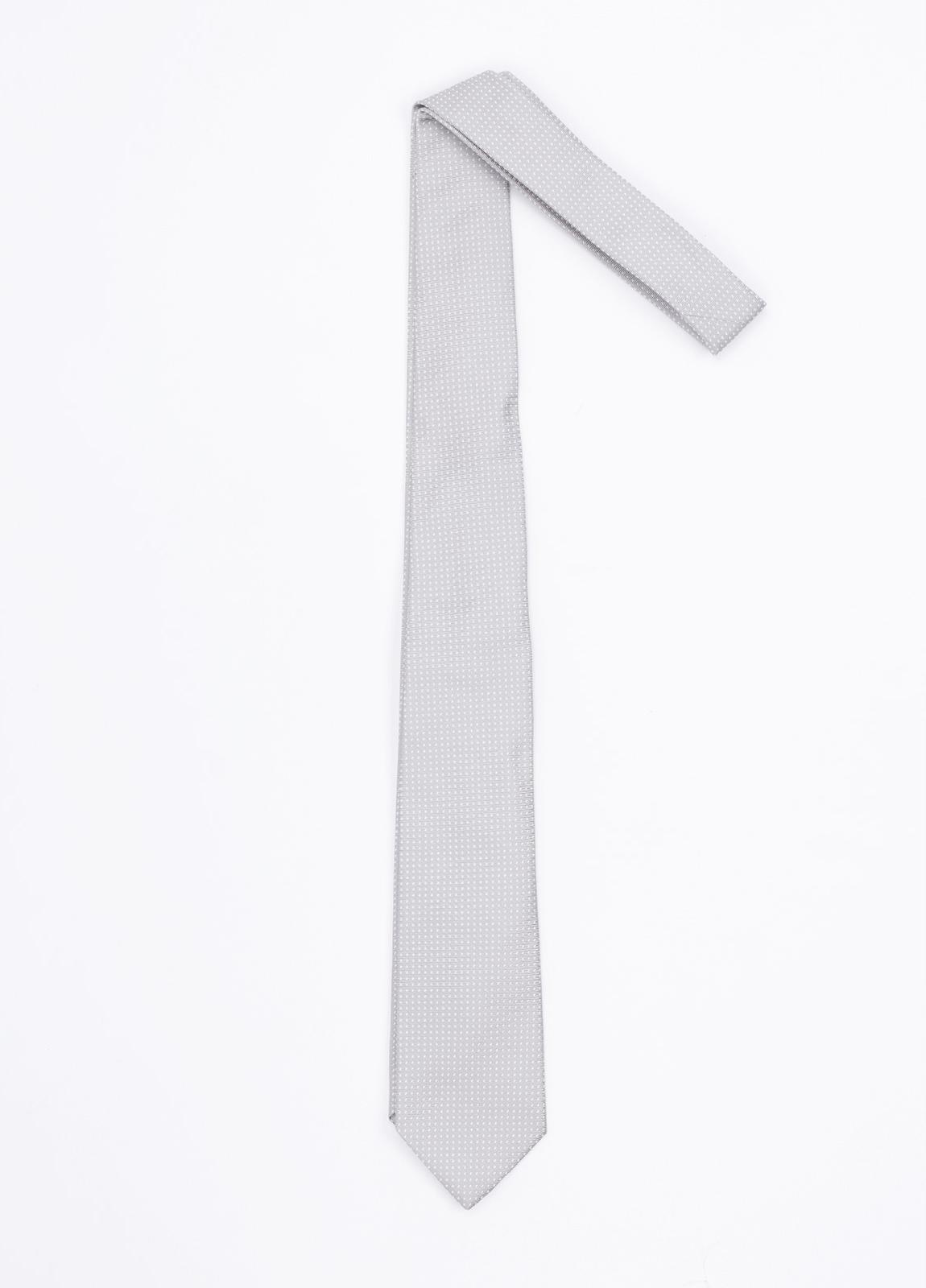 Corbata ceremonia microdibujo, color perla. Pala 7,5 cm. 100% Seda.