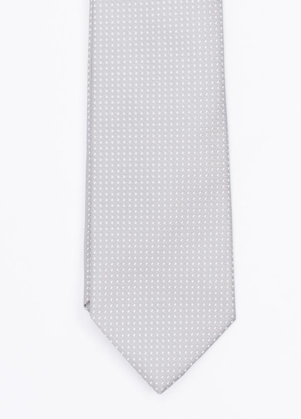 Corbata ceremonia microdibujo, color perla. Pala 7,5 cm. 100% Seda. - Ítem1