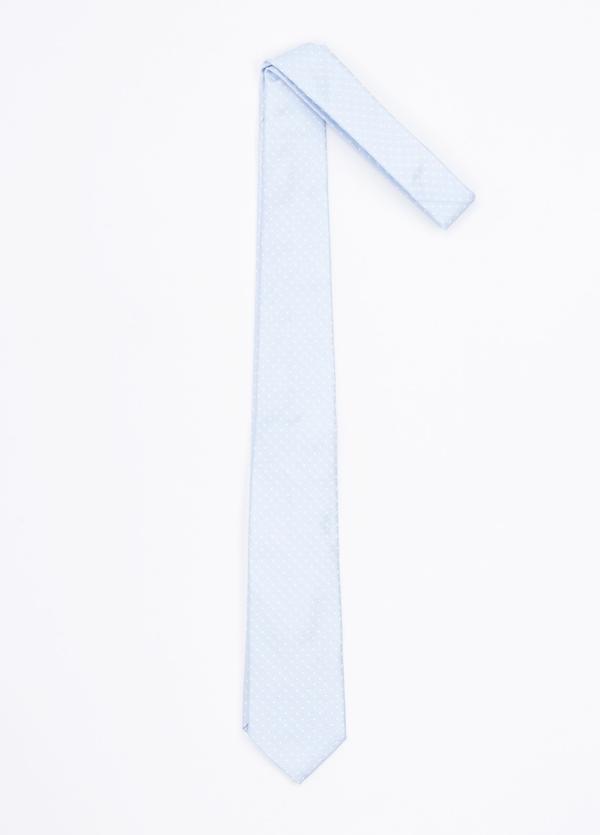 Corbata ceremonia microdibujo, color celeste. Pala 7,5 cm. 100% Seda.