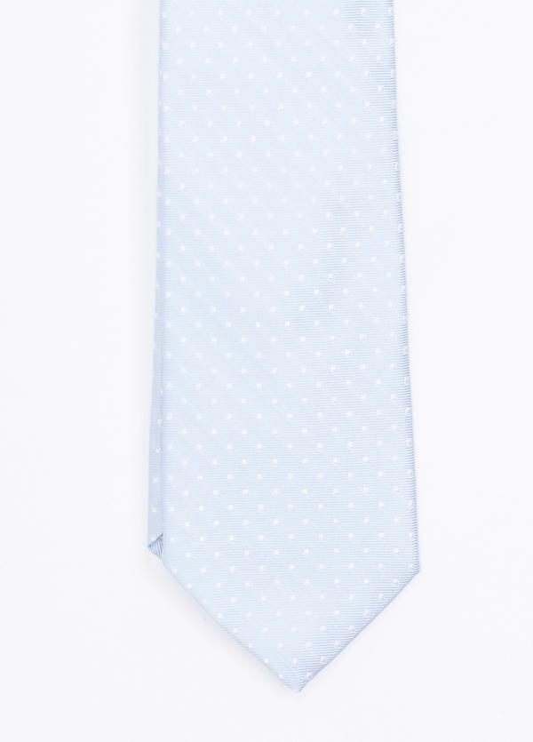 Corbata ceremonia microdibujo, color celeste. Pala 7,5 cm. 100% Seda. - Ítem1