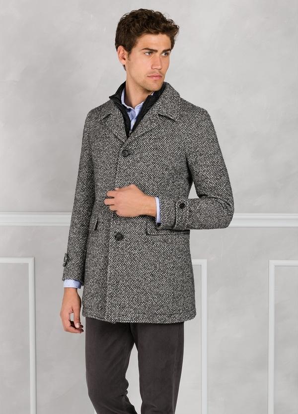 Abrigo jaspeado color gris con pecherín interior. Lana, alpaca y otras fibras. - Ítem4