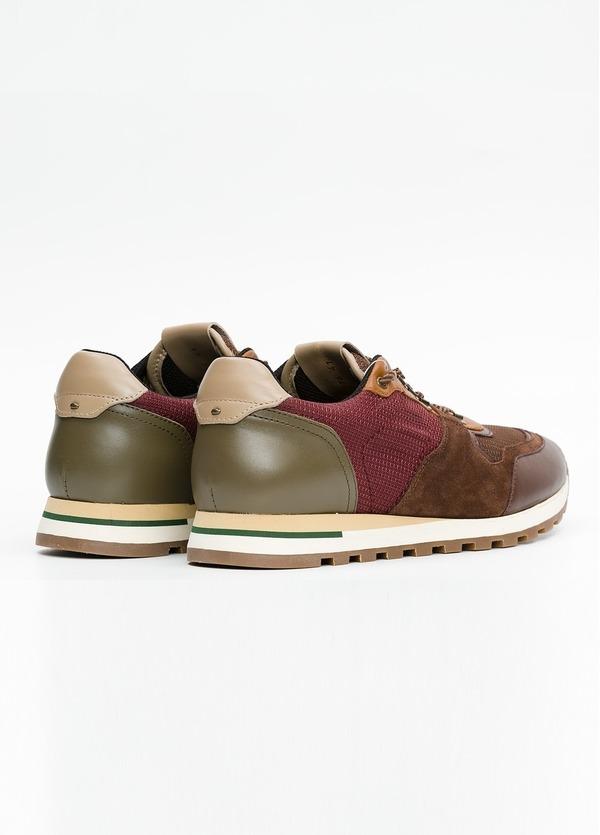 Zapato Sport Wear, color marrón, granate y verde. Combinación de piel, serraje y tejido técnico. - Ítem2