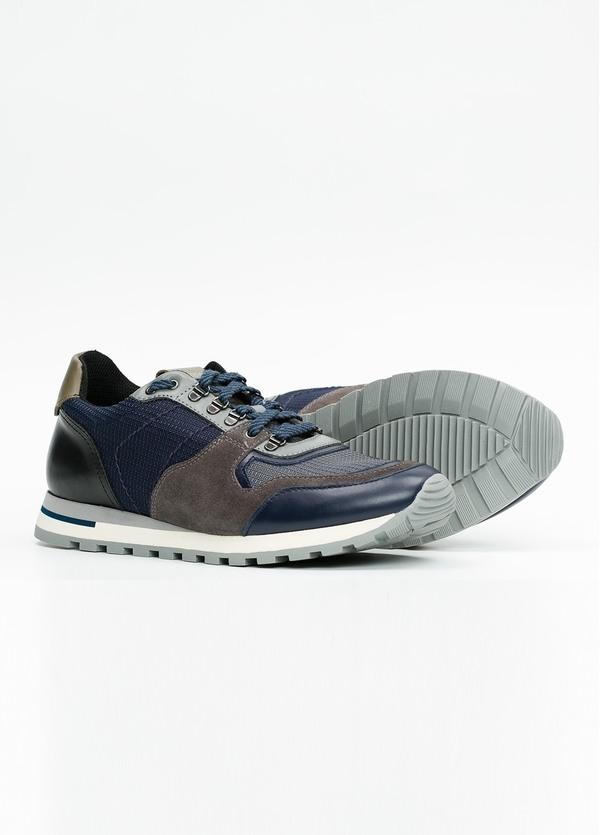 Zapato Sport Wear, color marrón, azul y negro. Combinación de piel, serraje y tejido técnico. - Ítem2