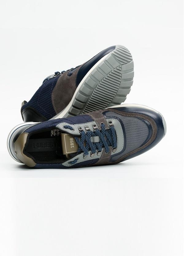 Zapato Sport Wear, color marrón, azul y negro. Combinación de piel, serraje y tejido técnico. - Ítem5