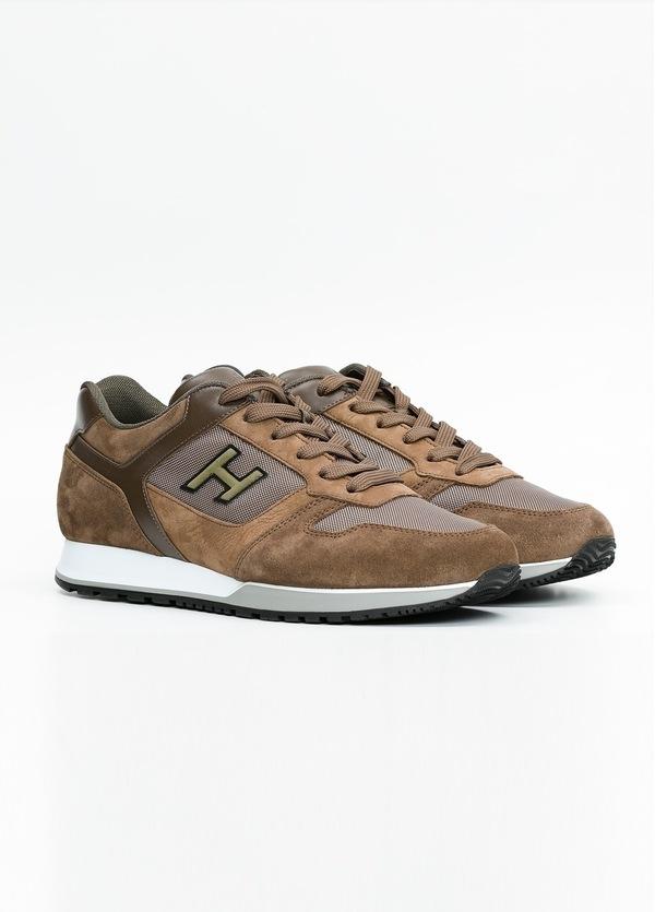 Calzado sport ALLACIATO color marrón. Combinación de serraje, tejido técnico y apliques en piel. - Ítem2