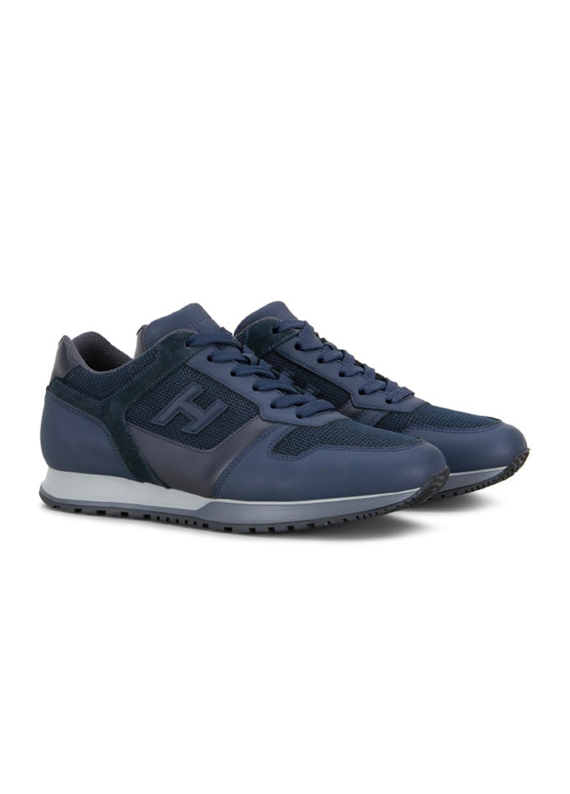 Calzado sport SNEAKER H-321 color azul. Combinación de piel, ante y tejido técnico. - Ítem1