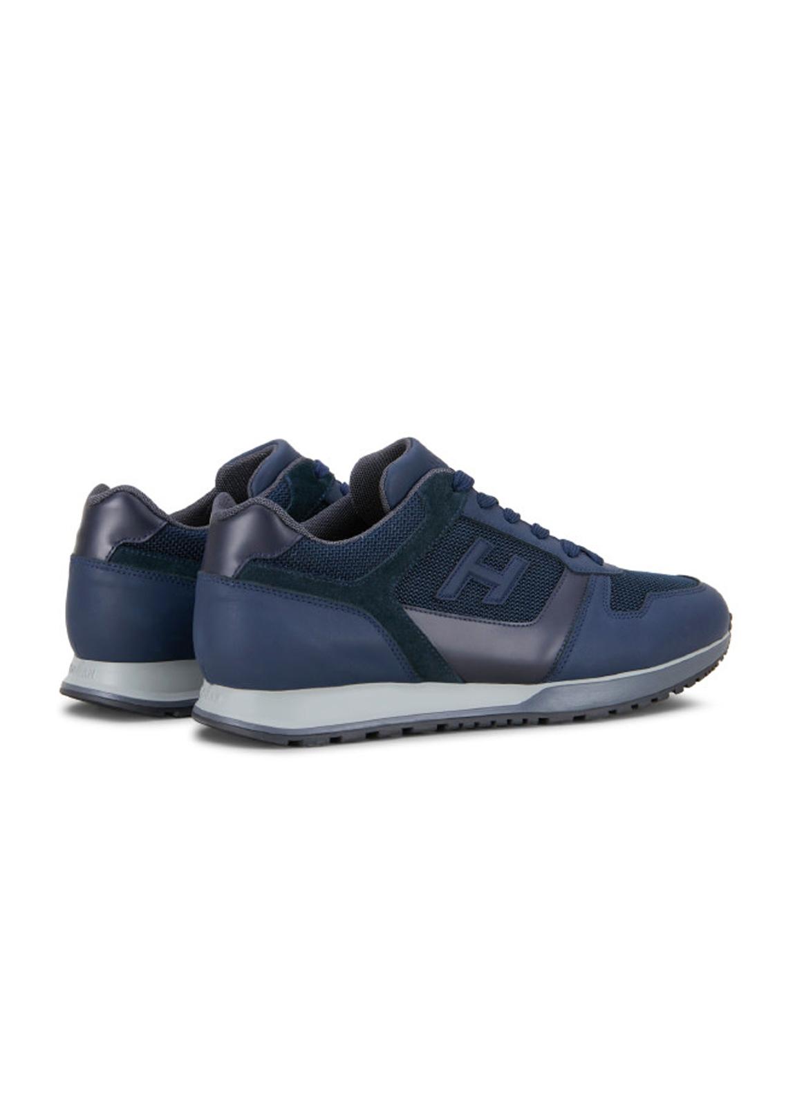 Calzado sport SNEAKER H-321 color azul. Combinación de piel, ante y tejido técnico. - Ítem2