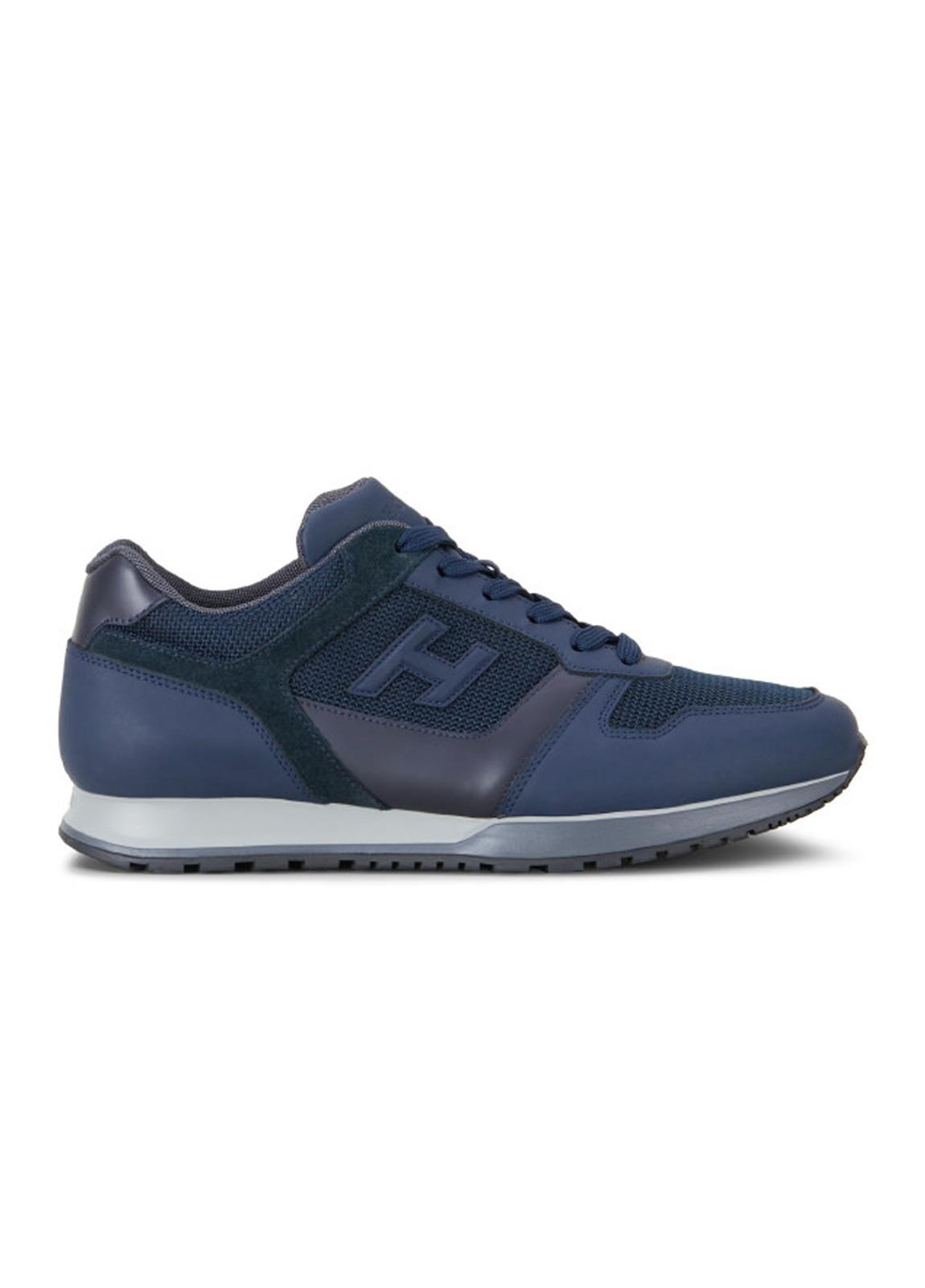 Calzado sport SNEAKER H-321 color azul. Combinación de piel, ante y tejido técnico.
