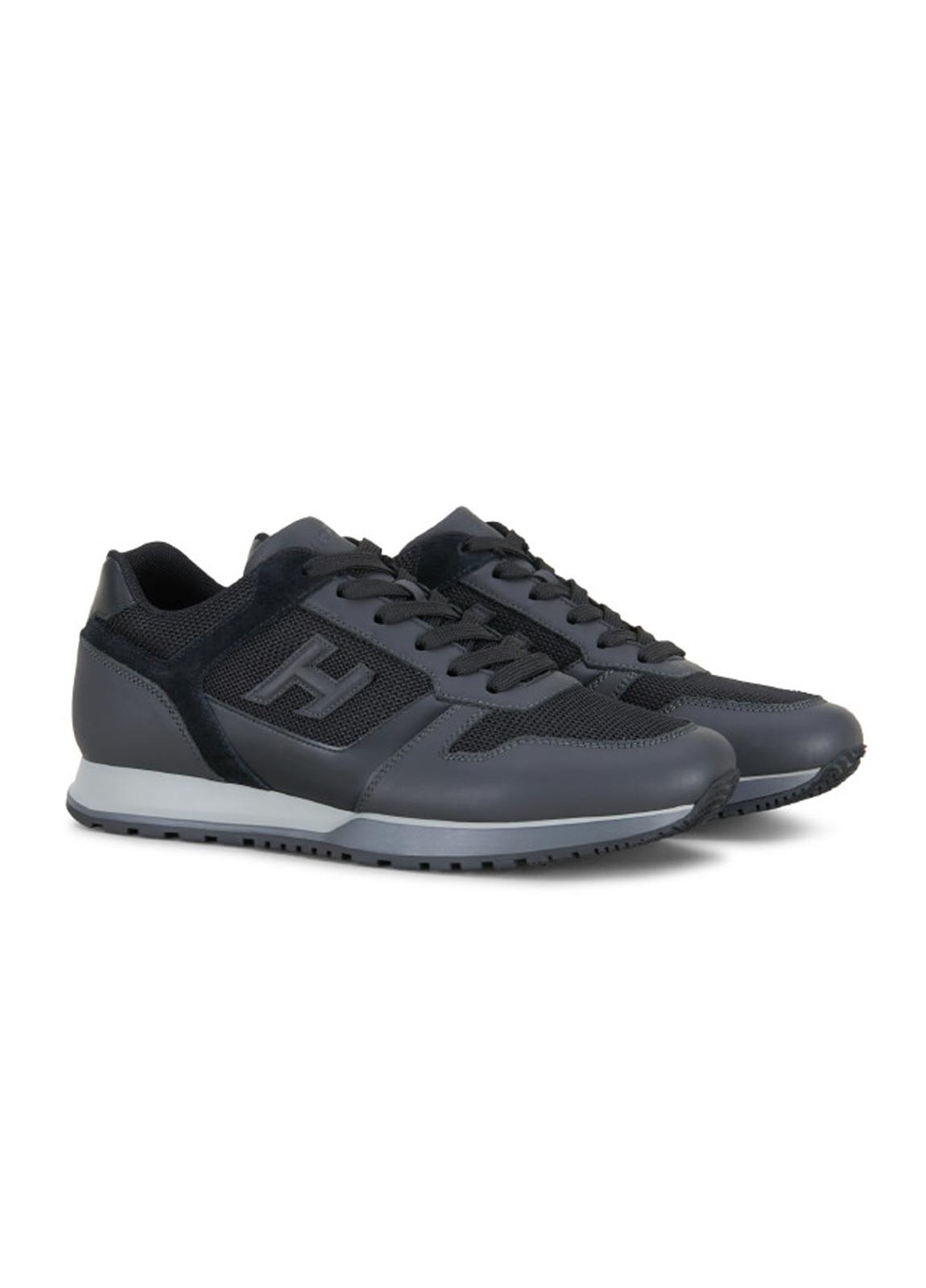 Calzado sport SNEAKER H-321 color negro. Combinación de piel, ante y tejido técnico. - Ítem2