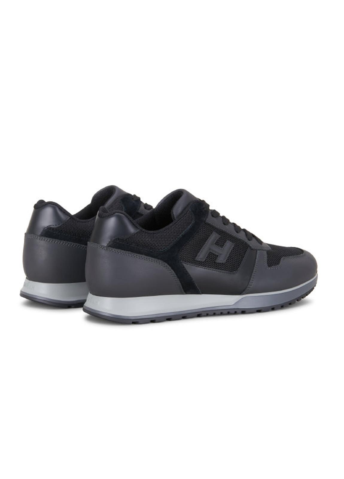 Calzado sport SNEAKER H-321 color negro. Combinación de piel, ante y tejido técnico. - Ítem1