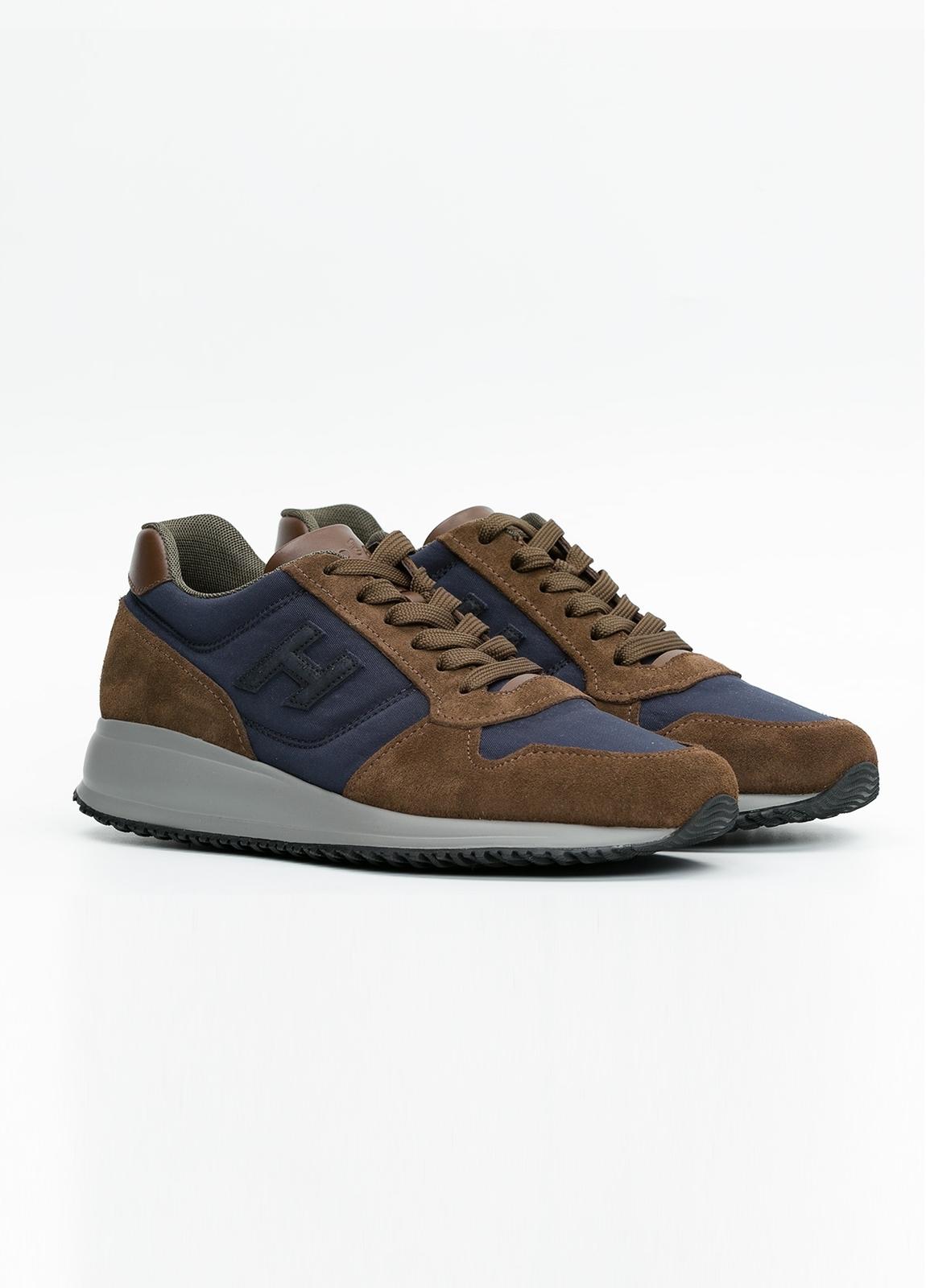 Calzado sport INTERACTIVE color marrón y azul. Combinación de serraje, tejido técnico y apliques en piel. - Ítem2
