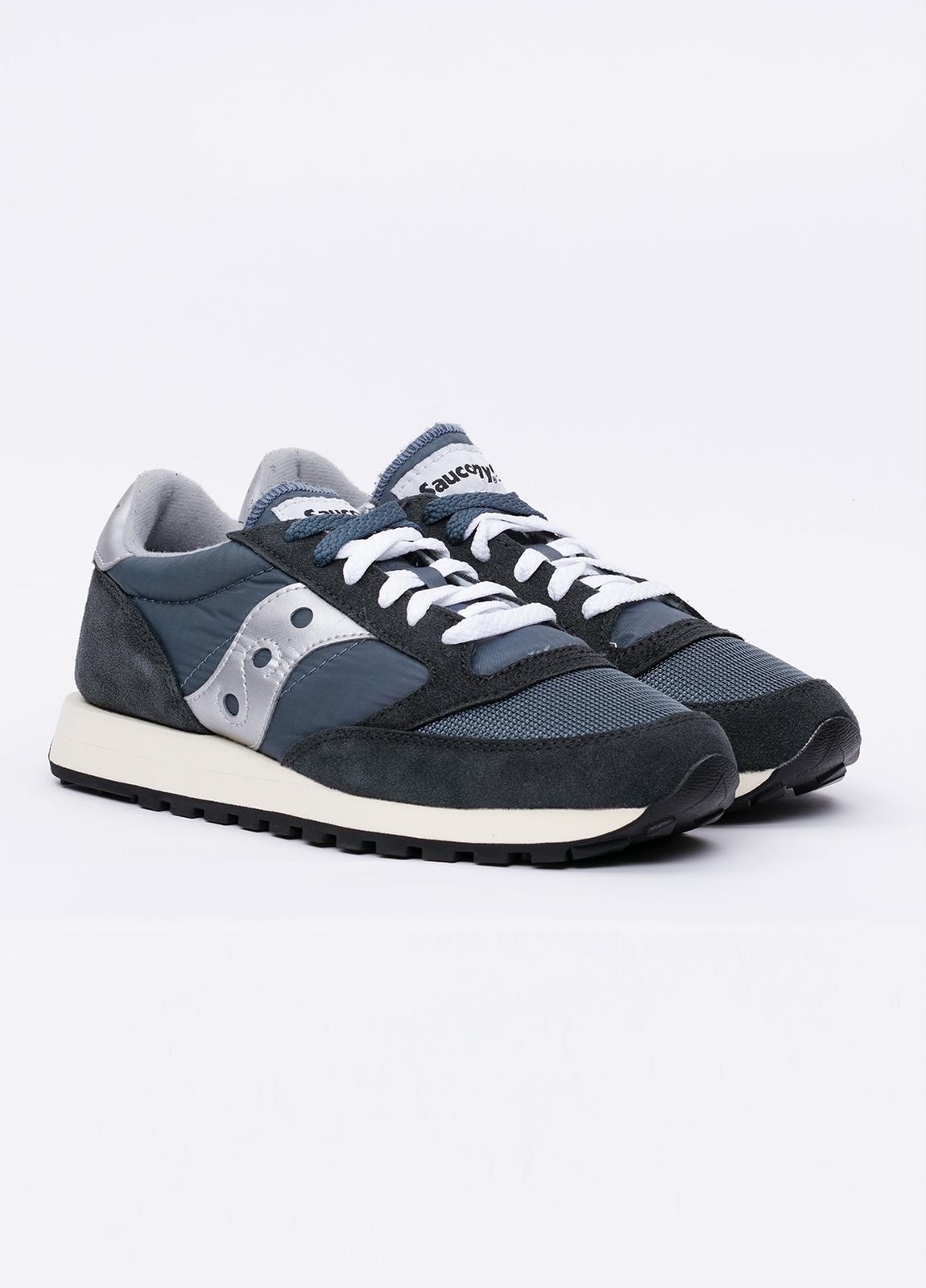 Calzado sport JAZZ OR VINT color azul con detalles blancos, combinación de serraje y tejido técnico. - Ítem1