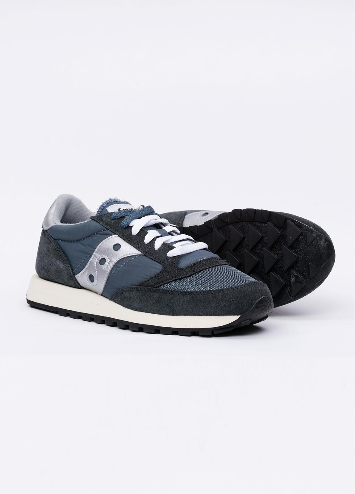 Calzado sport JAZZ OR VINT color azul con detalles blancos, combinación de serraje y tejido técnico. - Ítem2