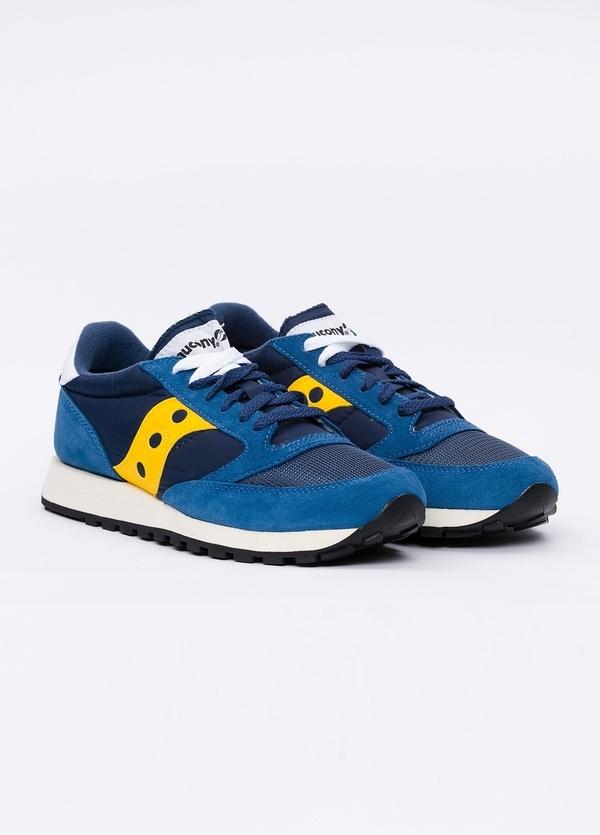Calzado sport JAZZ OR VINT color azul con detalles amarillos, combinación de serraje y tejido técnico. - Ítem1