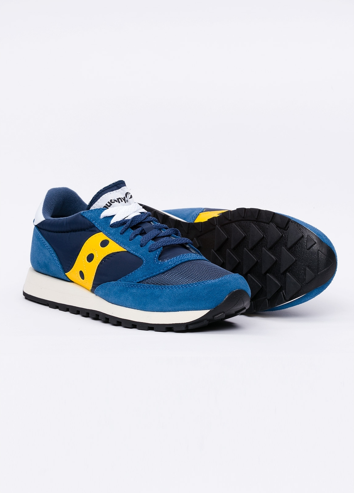 Calzado sport JAZZ OR VINT color azul con detalles amarillos, combinación de serraje y tejido técnico. - Ítem2