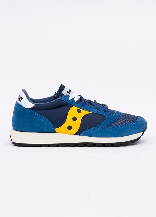 Calzado sport JAZZ OR VINT color azul con detalles amarillos, combinación de serraje y tejido técnico.