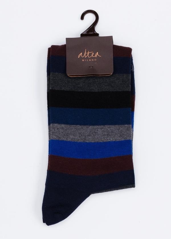Calcetín corto de algodón con estampado de rayas color azul marino.