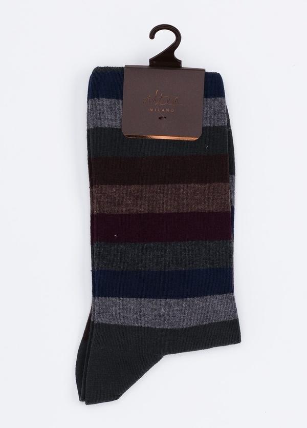 Calcetín corto de algodón con estampado de rayas color gris.