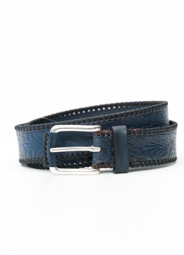 Cinturón Sport piel grabada color azul, 100% Piel.