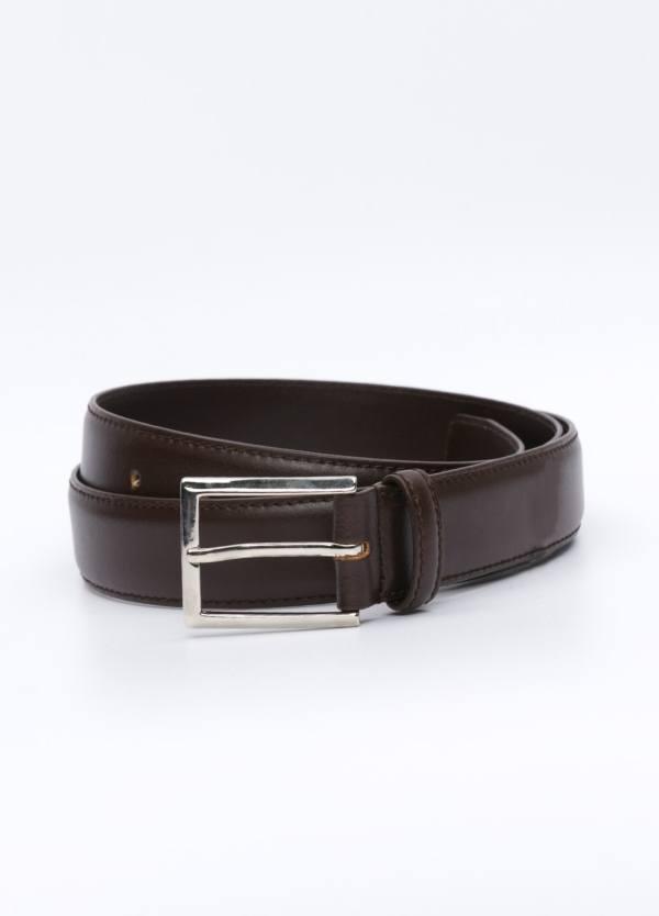 Cinturón Vestir piel lisa, color marrón, 32 mm. 100% Piel.