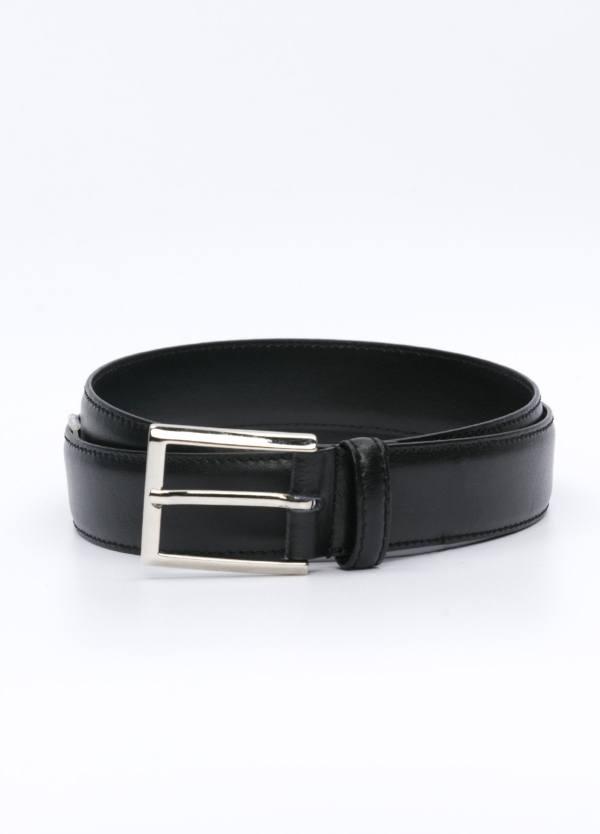 Cinturón Vestir piel lisa, color negro, 32 mm. 100% Piel.