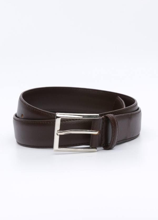 Cinturón Vestir piel grabada, color marrón, 32 mm. 100% Piel.