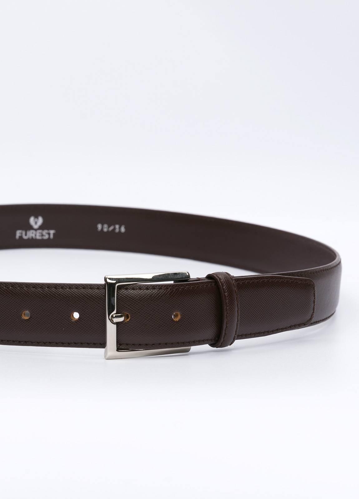 Cinturón Vestir FUREST COLECCIÓN piel grabada marrón - Ítem1
