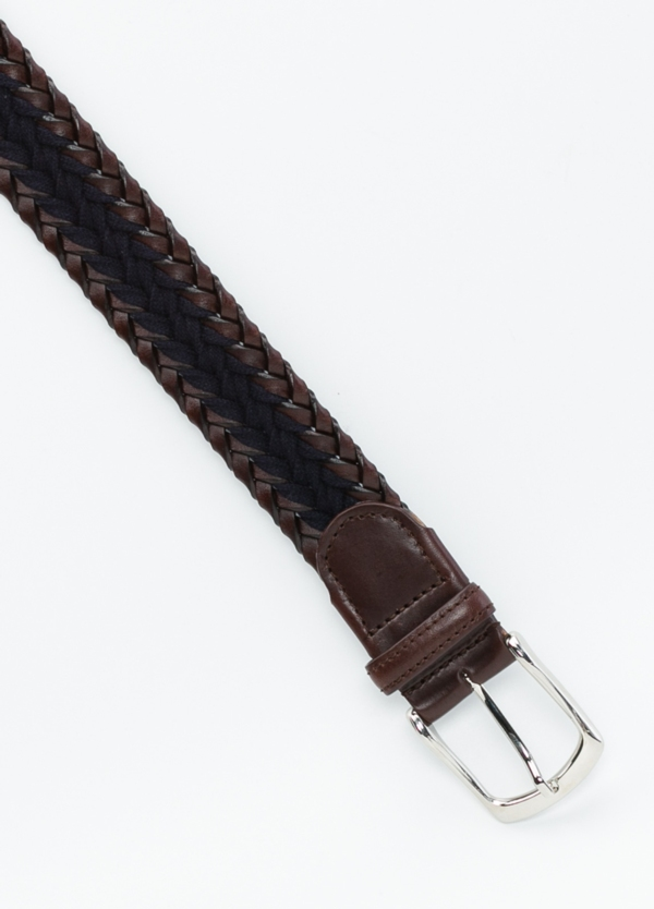 Cinturón sport trenzado color azul, 100% Lana. Detalles en piel y hebilla de Níquel. - Ítem1