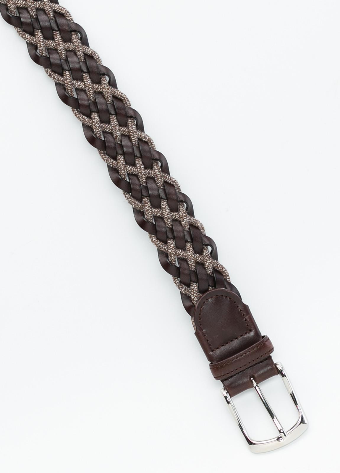 Cinturón sport trenzado color marrón, 100% Lana. Detalles en piel y hebilla de Níquel. - Ítem1