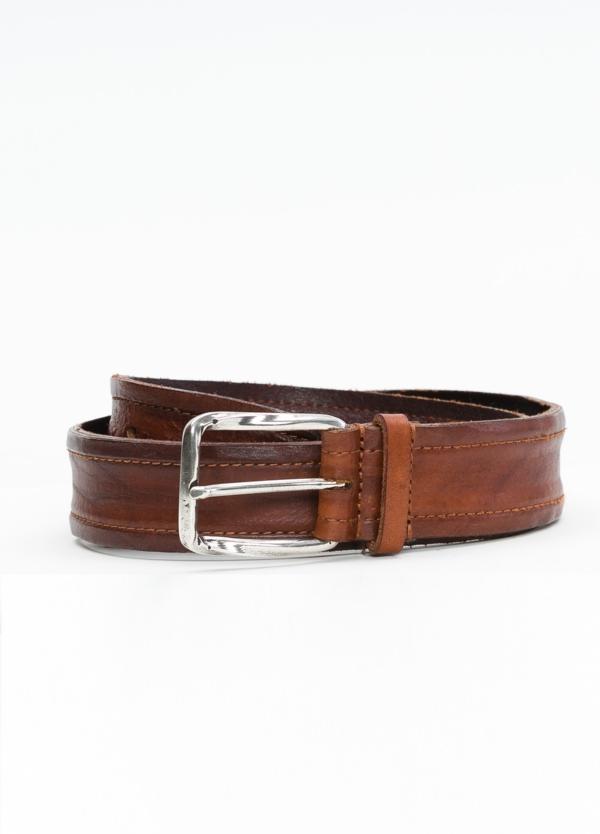 Cinturón Sport piel grabada color marrón, 100% Piel.