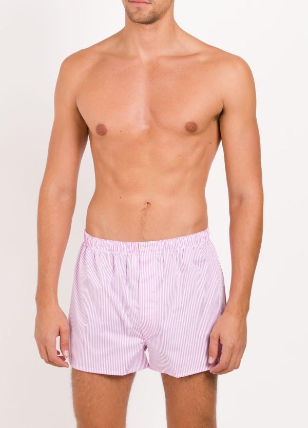 Boxer estampado cuadros rosas, 100% Algodón. Bolsa incluida del mismo tejido.