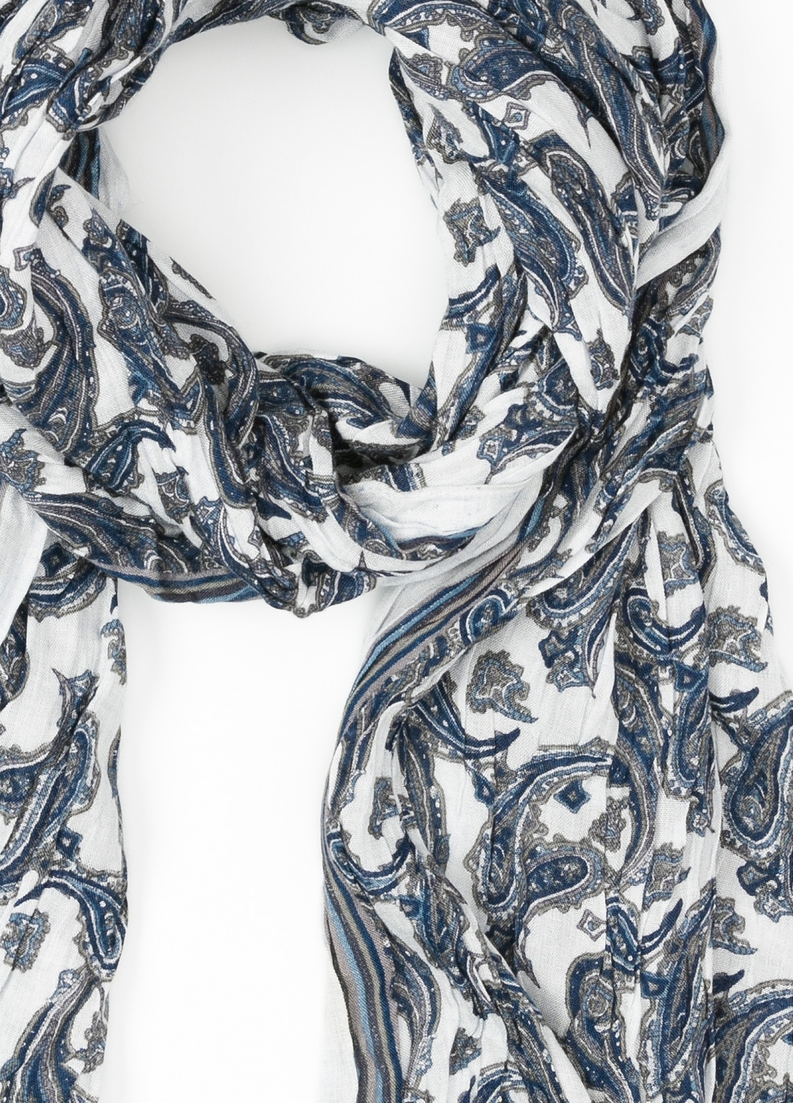 Foulard estampado étnico color azul, 60 x 185 cm. 85% Viscosa 15% Lana virgen. - Ítem1