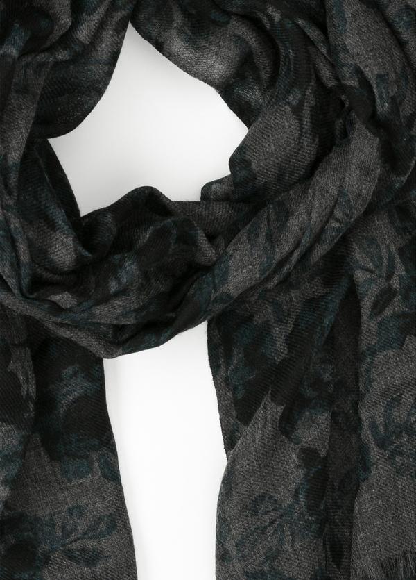 Foulard estampado floral color gris, 70 x 200 cm. 100% Lana. - Ítem1
