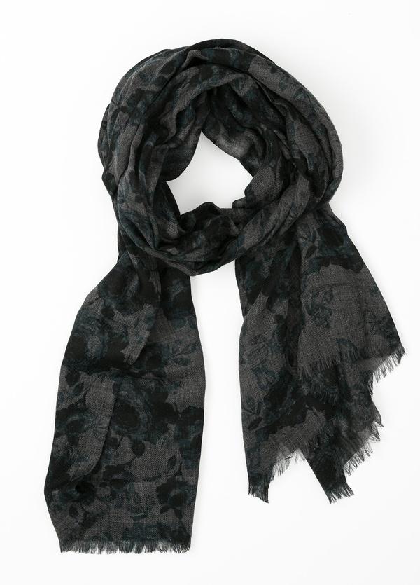 Foulard estampado floral color gris, 70 x 200 cm. 100% Lana.