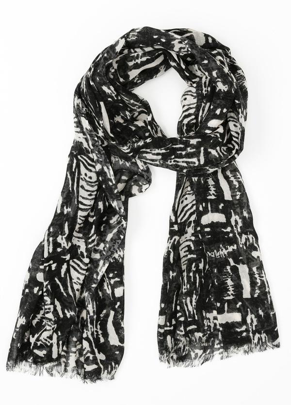 Foulard estampado étnico color gris 70 x 200 cm. 100% Lana.