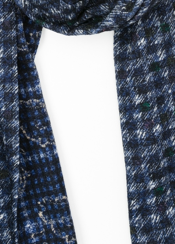 Foulard estampado cuadros color azul 35 x 200 cm. 90% Lana 10% Poliamida. - Ítem1
