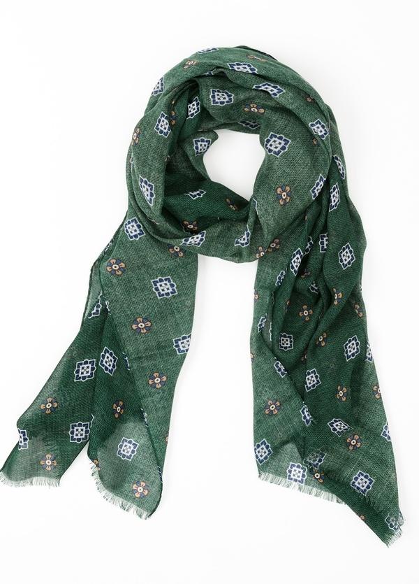 Foulard estampado floral color verde, 70 x 200 cm. 100% Lana.