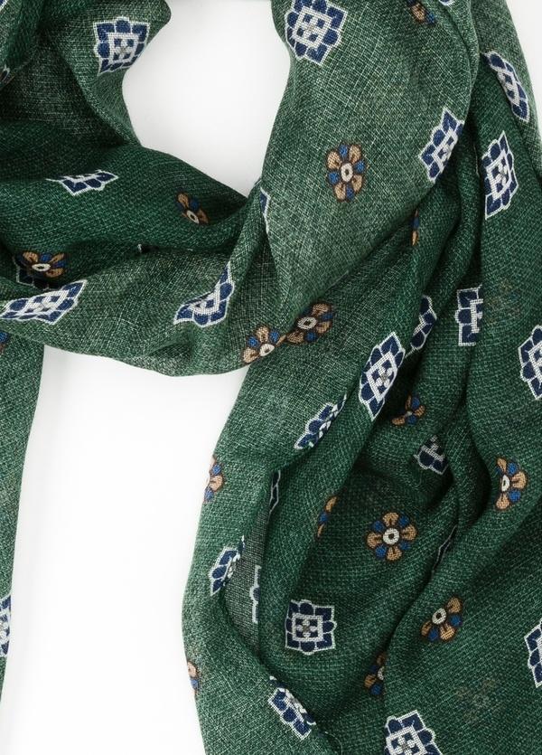 Foulard estampado floral color verde, 70 x 200 cm. 100% Lana. - Ítem1