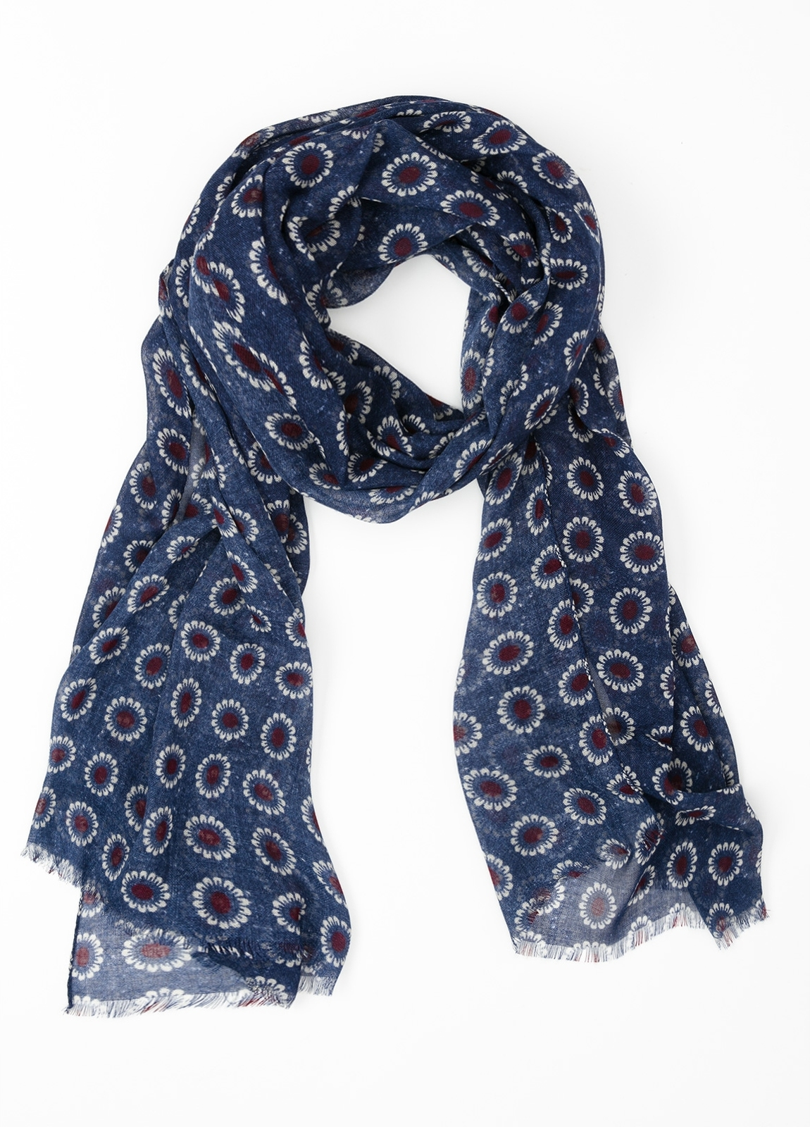 Foulard estampado floral color azul, 70 x 200 cm. 100% Lana.