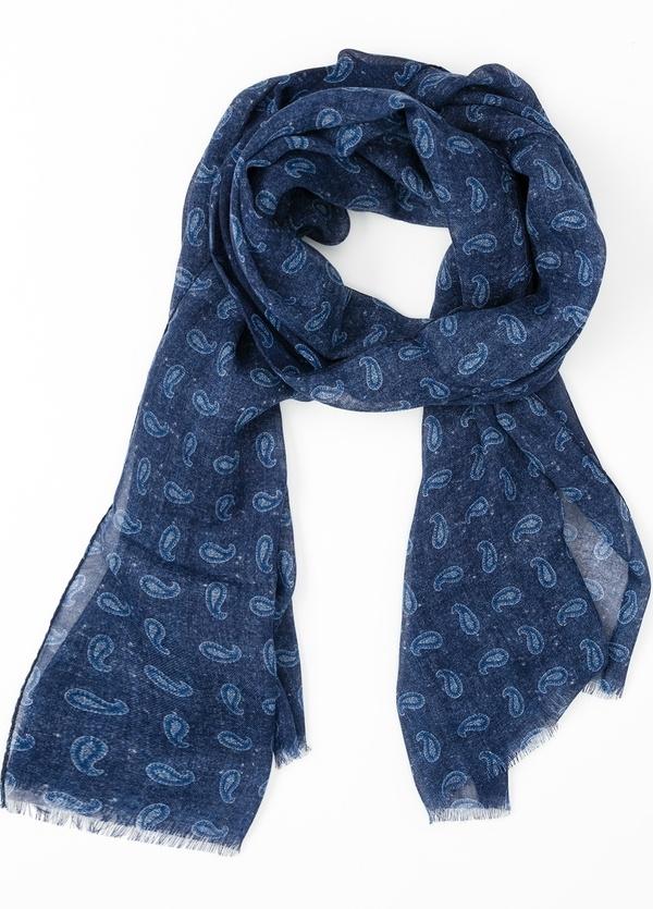 Foulard estampado étnico color azul, 70 x 200 cm. 100% Lana.