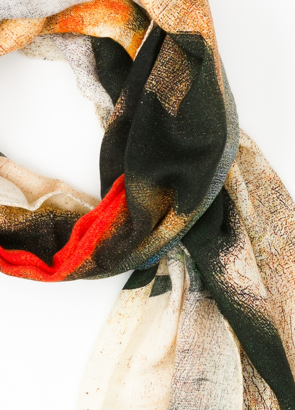 Foulard estampado abstracto color crudo, 70 x 200 cm. 100% Lana. - Ítem1