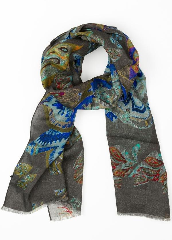 Foulard estampado étnico color gris, 70 x 200 cm. 100% Lana.
