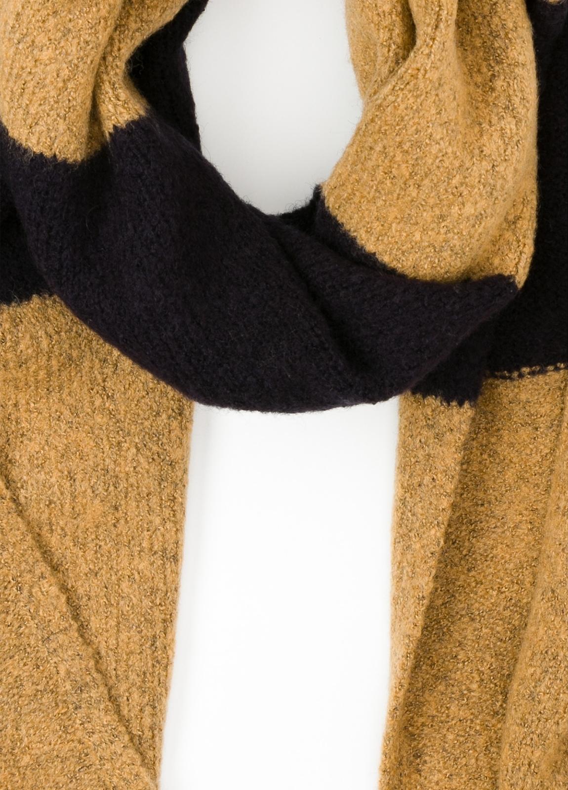 Bufanda de rayas anchas color amarillo, 180 x 40 cm, mezcla de lana cepillada. - Ítem1