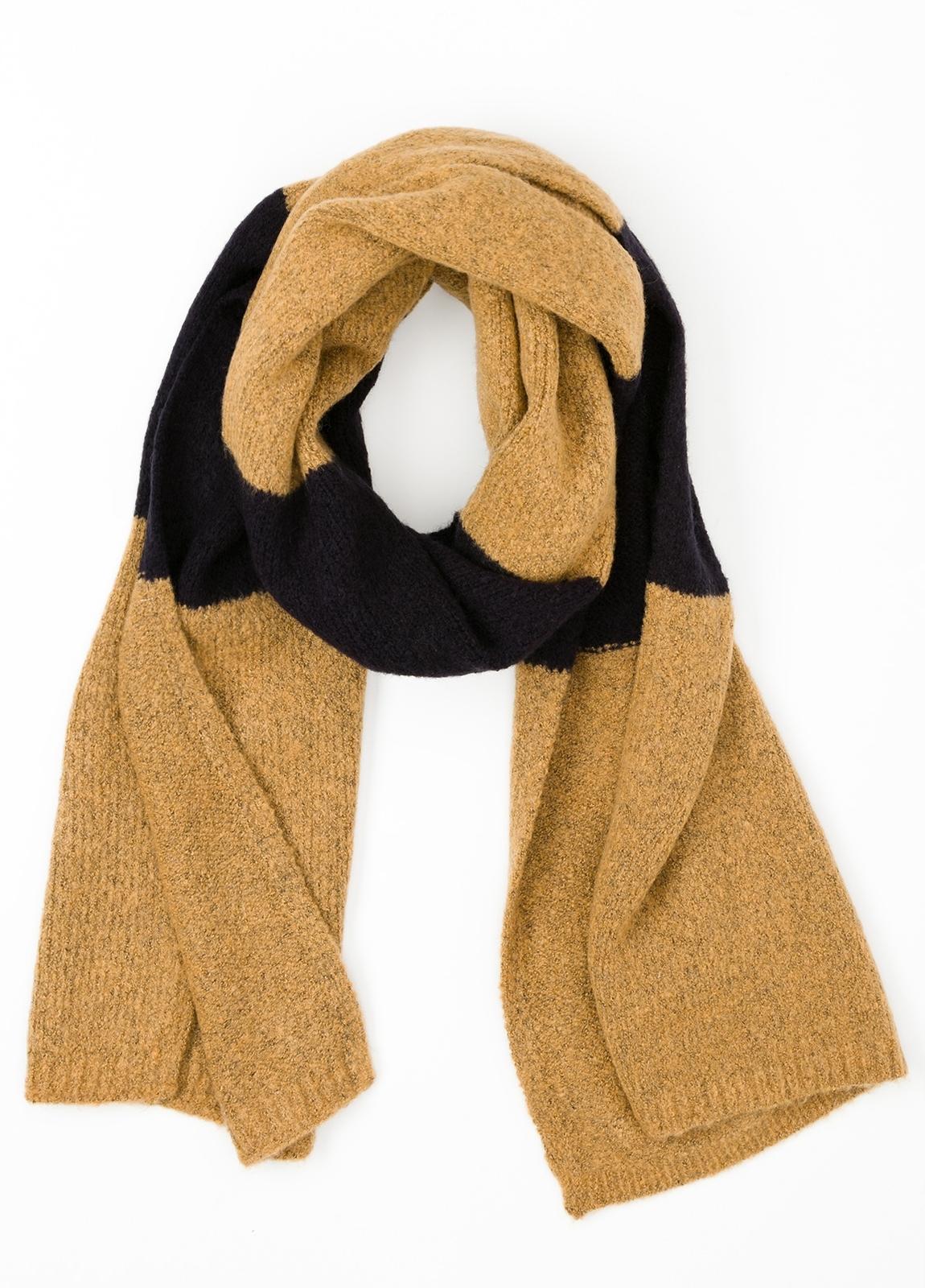 Bufanda de rayas anchas color amarillo, 180 x 40 cm, mezcla de lana cepillada.