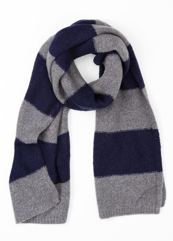 Bufanda de rayas anchas color azul, 180 x 40 cm, mezcla de lana cepillada.